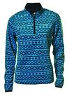 Catmandoo Thermal Micro Fleece Base Layer 1/4 Zip Golf Top Turquoise Aztec 8 -16