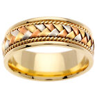 14K Tri Color Yellow Rose Pink Gold Hand Braided Wedding Band 8.5mm (WJRL01314)