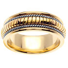 14K Two Tone Yellow White Gold Hand Crafted Wedding Ring Band 8mm (WJRL04354)