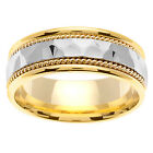14K Two Tone Yellow White Gold Two Row Hammer Wedding Band 7.5mm (WJRL06434)