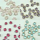 Square Framed glass Pendants Connectors for Necklace Earrings Jewelry #FG-034