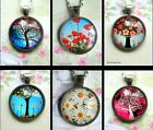 TREE POPPY DAISY ROUND PENDANT NECKLACE GLASS DOME CABOCHON CHARM LIFE NATURE