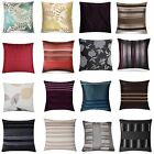 "4 x Stylish Cushion Covers 17x17"" 43x43cm Lounge Floral Jaquard Chenille Striped"