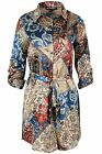 Womens Floral Printed Rompers Ladies Collar Front Belted Tunic Long Shirt Dress