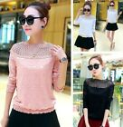 Elegant Lace Tops Women's Hollow Casual Long Sleeve Blouse New Stylish Shirts