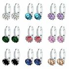 Women Crystal Rhinestone Silver Filled Ear Hoop Earrings Wedding Party Jewelry