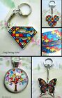 SUPERHERO JIGSAW BUTTERFLY MICKEY AUTISM AWARENESS KEYRING OR NECKLACE OR RIBBON