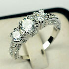 White Sapphire Silver Wedding Band Ring 10KT White Gold Filled Jewelry Size 6-10