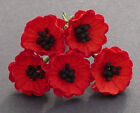5 x POPPY / POPPIES  Mulberry Paper Flowers for Cardmaking, Crafts & Scrapbooks