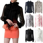 High Neck Office Top Womens Satin Blouse long sleeve Victorian ladies lace Shirt