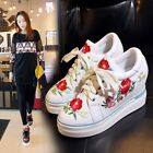 Fashion Embroidery Womens Hidden Wedge Athletic Platform Creeper Leisure Shoes