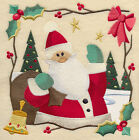 COUNTRY CHRISTMAS SANTA SQUARE HOLIDAY MACHINE EMBROIDERED QUILT BLOCK (HP)
