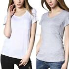 Fashion Women V-neck Short Sleeve Modal Loose Casual Summer T-shirt Tops Blouse