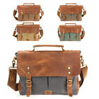 Canvas Leather Briefcase CrossBody Laptop Shoulder Messenger Bag Satchel School