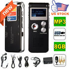 8GB Digital Audio Voice Recorder Rechargeable Dictaphone USB Drive MP3 Player US