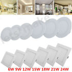 Dimmable 6W 9W 12W 18W 21W 24W LED Recessed Ceiling Panel Down Light Fixtures