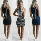 Womens Slim Bodycon Clubwear Mini Dress Ladies Striped Hoodie Tops T Shirt TXCL
