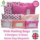 PINK Postal Plastic Mailing Bags Postage Coloured Packaging - Polka Dot Floral
