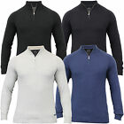 Mens Jumper Threadbare Knitted Top Sweater Pullover Funnel Neck Zip Winter New