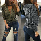 Womens Ladies Loose V Neck T Shirt Long Sleeve Cotton Tops Shirt Blouse Print