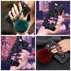 Luxury Diamond Bling Rhinestone Rabbut Fur Plush Strap Chain Case For iPhone