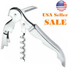 1x Stainless Steel Corkscrew Double Hinged Waiters Wine Bottle Opener Lever Tool