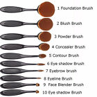 10Pcs Black Soft Elite Oval Toothbrush Makeup Brush Set Foundation Brushes Tool