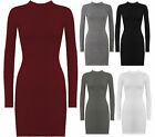 NEW WOMENS TURTLE NECK LONG SLEEVE KNITTED BODYCON JUMPER DRESS