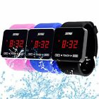 Mens Women's Stainless Steel Square Dial Silicone LCD TOUCH SCREEN Digital Watch