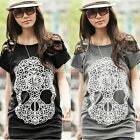 Women Lace Patchwork Skull Prints Summer Loose Casual Shirt T-Shirt Tops K0E1