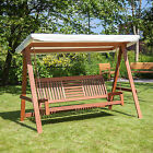 Alfresia Wooden Outdoor Swinging Hammock 3 Seater Swing Bench with Canopy