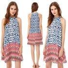 Women's Fashionable Halter Sleeveless Short Printed Casual Dress 05589
