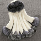 Women's Rabbit Mink Fur Warm Coat Top Mink Winter Overcoat Garment White/Black