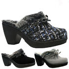 NEW WOMENS SKECHERS FULL FUR SLIP ON WEDGE HEEL CLOGS MULES SLIPPERS SHOES SIZE