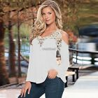WOMENS OFF SHOULDER LACE TEE SHIRTS TOPS BLOUSE V NECK BOHO PULLOCER LONG SLEEVE