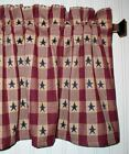 Navy Blue Stars on Berry Red Plaid Valance Primitive Country Curtains Americana