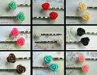 1 X PAIR OF ROSE HAIR CLIPS GRIPS RESIN 12MM KITSCH KAWAII ACRYLIC CUTE