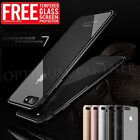 Aluminum Metal Gel Hybrid Shockproof Clear Case Tempered glass For iPhone 7 6 6s