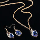 Fashion Women's  Filled Sapphire necklace earrings ring jewelry set Gift LAUS