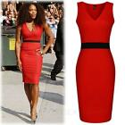 Red womens ladies Work Designer Office Wrap Sleeveless Vintage Dress Size 8