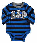 Baby Gap Boy Striped BLUE Logo Bodysuit Vest Top Long Sleeved 0-24 m £8.95