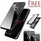 Hybrid Shockproof Mirror Metal effect Slim Hard Case Tempered Glass For iPhone 7