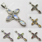 MOONSTONE, CITRINE & Other Natural Stones Choice ! 925 Silver ART CROSS Pendant