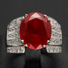 100% GENUINE ! TOP REDDISH  RED RUBY REAL SAPPHIRE 925 STERLING SILVER RING
