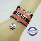 DETROIT TIGERS Leather Woven Bracelet-ChOOse Charm **FAST SHIPPING** on Ebay