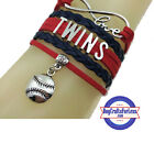 MINNESOTA TWINS Leather Woven Bracelet **FREE SHIPPING** on Ebay