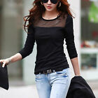 Women Casual Shirts Slim Mesh Tops Long Sleeve Shirt Blouses Blusas