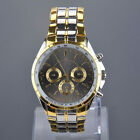 Luxury Mens Sport Wrist Watch Gold Stainless 3 Sub-Dials Decoration Wristwatch