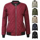 New Women Bomber Quilted Padded Puffer Ladies Zip Puffa Coat Jacket Ribbed Top