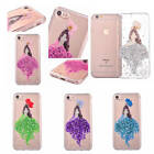 For iPhone 7 Plus 6 Plus Luxury Glitter Girl Flowers Transparent TPU Case Cover